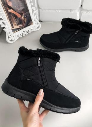 Женские черные дутики на меху, термоботинки, термосапоги, ботинки