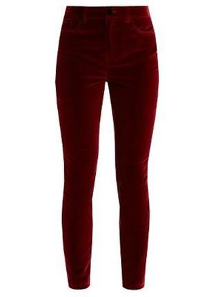 Вельветовые брюки винного цвета, большой размер