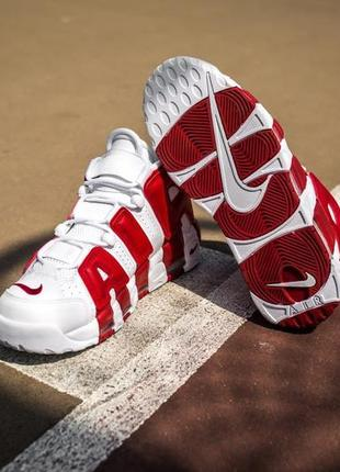 Мужские кроссовки найк nike air uptempo white red.