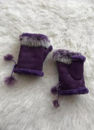 Перчатки с натур.мехом кролика