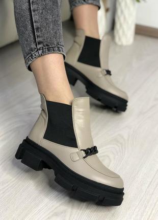 Ботинки челси кожа с цепью на платформе