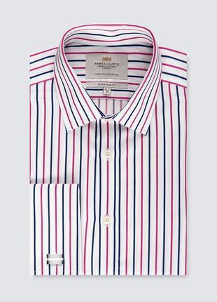Рубашка под запонки в полоску next из хлопка, размер 48 - 50