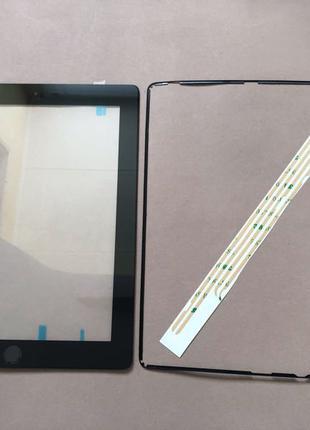 """Сенсор (тачскрин) iPad 2 чёрный + кнопка """"меню"""""""