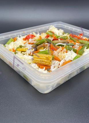 Контейнер пластиковый пищевой прямоугольный ланч бокс 900мл