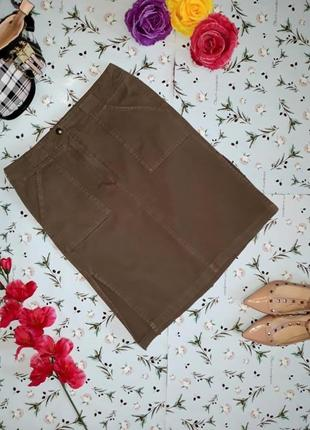 Акция 1+1=3 джинсовая юбка, цвет хаки, по бокам разрезы, разме...