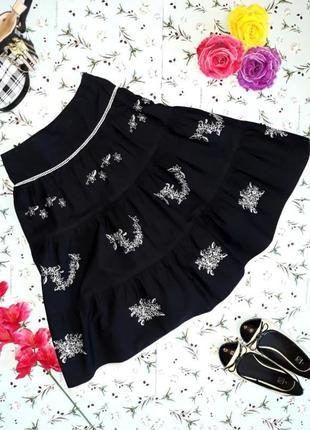 Акция 1+1=3 шикарная черная юбка с вышивкой и кружевом, размер...