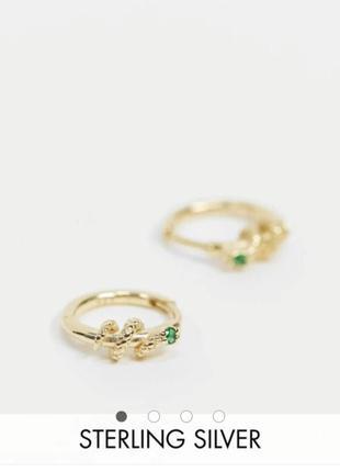 Серьги серебро позолота круглые змейки змеи камень asos