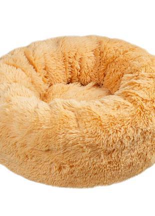 Лежак для кота или маленькой собаки мех абрикос 50 см