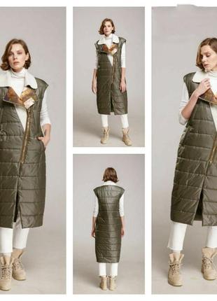 Alberto bini жіноче пальто жилет знижка оливковый жилет длинны...