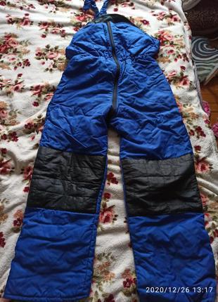 Теплые штаны для прогулок полукомбинезон
