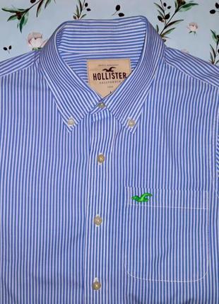 Фирменная плотная рубашка в полоску hollister, размер 48 - 50
