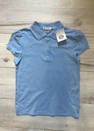Качественная голубая футболка - поло девочке