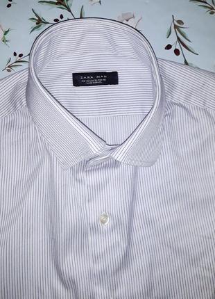 Стильная модная белая рубашка zara man, размер 48 - 50