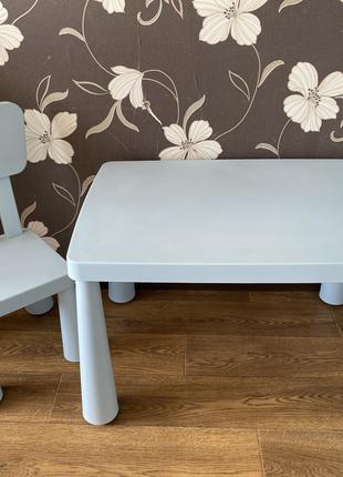 Детский стол и стул ИКЕА, голубой стол стульчик IKEA