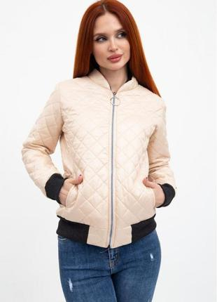 Куртка-бомбер женская прошитая с воротничком, на манжетах