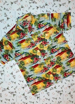 Стильная яркая рубашка с коротким рукавом, размер 50 - 52, бол...