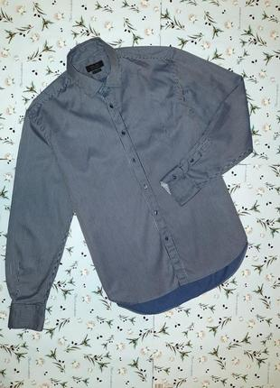 Фирменная синяя рубашка в полоску zara, размер 48 - 50