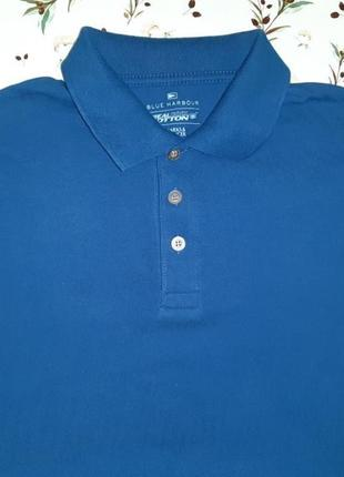 Фирменное темно-синее поло футболка marks&spencer, размер 46 - 48