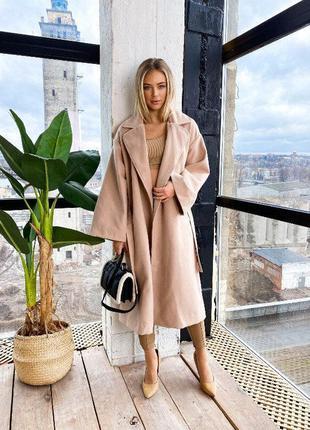 Стильное длинное кашемировое пальто оверсайз