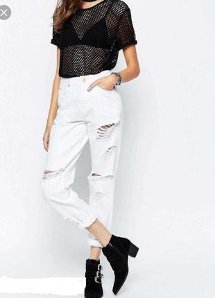 Крутые белые мом mom рваные высокие джинсы asos, размер 42 - 44