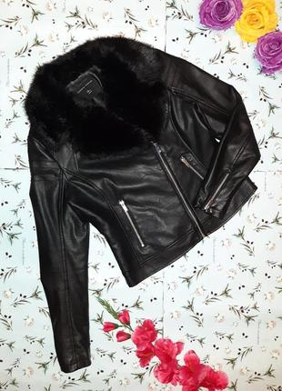 Модная кожаная куртка косуха с мехом dorothy perkins, размер 4...