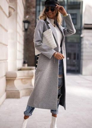 Стильное длинное кашемировое утепленное пальто