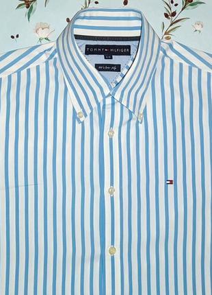 Белая рубашка в голубую полоску tommy hilfiger , размер 42 - 44
