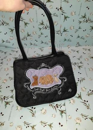 Оригинальная черная сумка с собачками lulu guinness