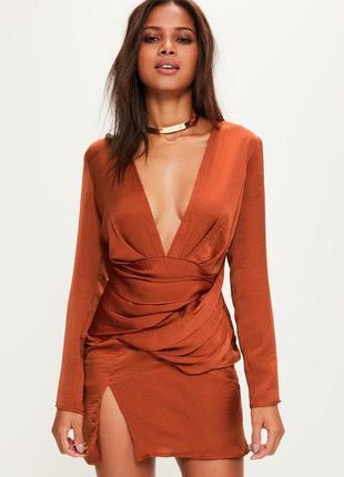 Сатиновое платье мини с длинными рукавами терракотовый цвет