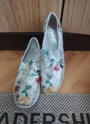 Бомбезные туфли мокассины слипоны от rieker,p. 42
