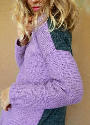 Стильный вязаный оверсайз свитер ручной работы, новый!