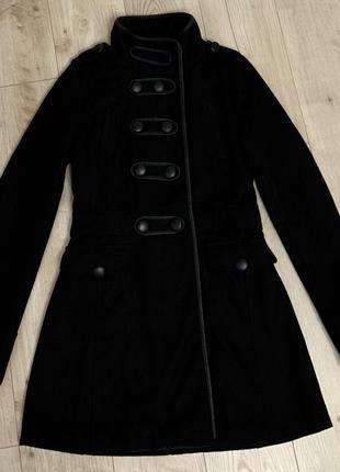 Пальто черное женское базовое , шерстяное от madonna размер хс-с