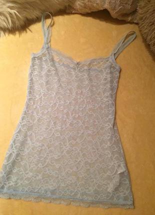 Шикарный ажурный кружевной пеньюар майка рубашка сорочка италь...