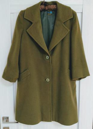 Кашемировое пальто оверсайз.зеленая роскошь.базовое осеннее па...