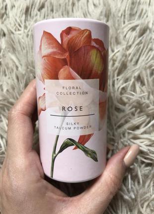 Парфюмированный  тальк для тела m&s rose 🌹