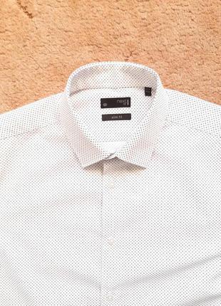 """Рубашка белая next slim в точку мужская 17,5"""" 44 см размер xl,..."""