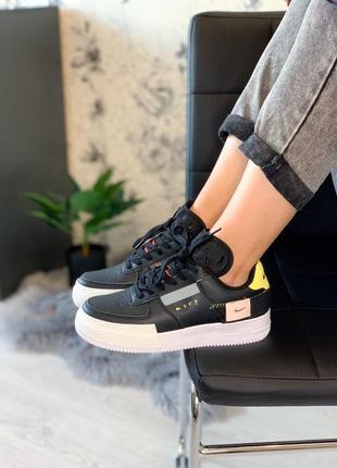 Женские кожаные чёрные кроссовки найк  nike n354