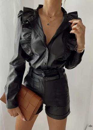 Кожаная черная рубашка с рюшами блуза кожа с рукавом