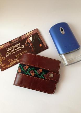 Портмоне коричневый, бумажник кожаный, кошельок мужской, портмоне