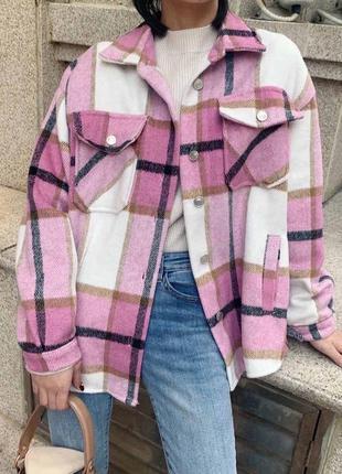 Розовая рубашка в клетку трендовая тёплая рубашка байка оверсайз
