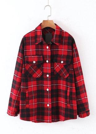 Красная рубашка в клетку оверсайз рубашка байка