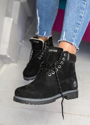 🍒зимние🍒женские кожаные ботинки timberland black, чёрные тимбе...