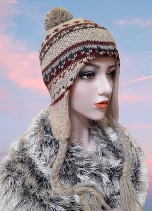 Теплая шапка с орнаментом на подкладке из флиса, взрослый разм...