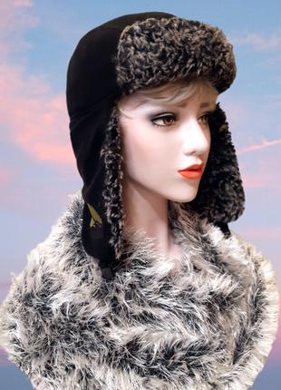Черная шапка ушанка унисекс, с серым искусственным мехом на ст...