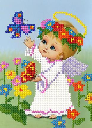 Схема 11х17 см для вышивки бисером ангелочек
