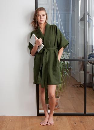 Льняной халат Оливковый, женский халат, кимоно