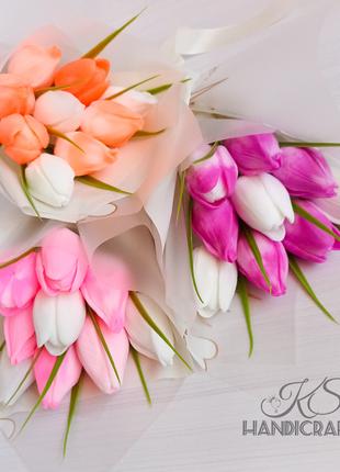 Букет тюльпанов. Подарок. 8 марта. Неувядающие букеты из мыла.
