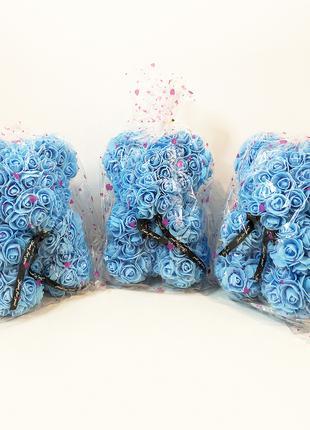 Лучший подарок: мишка из искусственных 3D роз 25 см Цвет: голубой