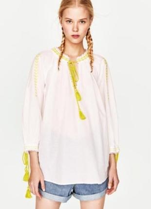Хлопковая блузка вышиванка zara
