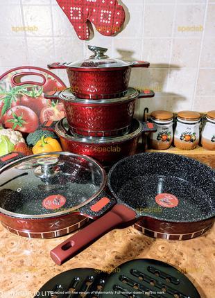Набор посуды ZILNER ZL-8512 RED. Газ, индукц, керамика